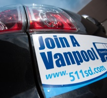 Vanpool bumper sticker on car